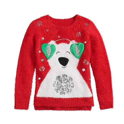 Girls 7-16 It's Our Time Novelty Christmas Sweater