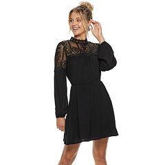 Juniors' American Rag Illusion Lace Neck Peasant Dress
