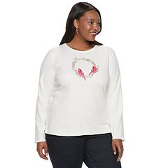 Plus Size Croft & Barrow® Holiday Long-Sleeve Top