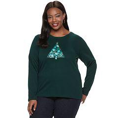 Plus Size Croft & Barrow® Holiday Long-Sleeve Top