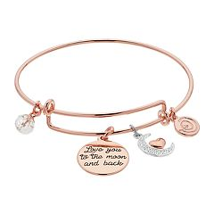 love this life 'Love You to the Moon and Back' Crystal Moon Bangle Bracelet