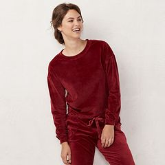 Women's LC Lauren Conrad Weekend Drawstring-Hem Velvet Sweatshirt