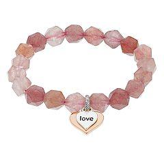 love this life Heart Charm & Strawberry Quartz Bracelet