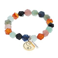 love this life Mixed Agate 'Balance' Ying-Yang Charm Bracelet