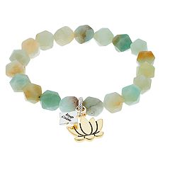 love this life Amazonite Stone 'Keep Calm' Lotus Charm Bracelet