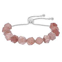 love this life Strawberry Quartz Stone Bolo Bracelet