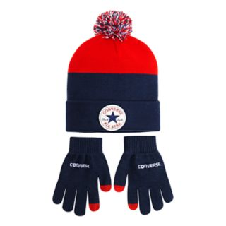 Boys 4-20 Converse Chuck Patch Beanie & Glove Set