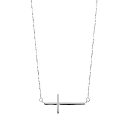 Timeless Sterling Silver Horizontal Cross Necklace