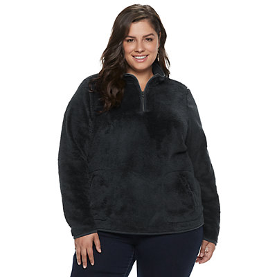 Plus Size SONOMA Goods for Life? Supersoft Half-Zip Sherpa Sweatshirt