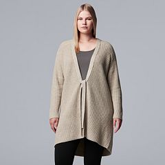 Plus Size Simply Vera Vera Wang Ribbed Oversized Coatigan
