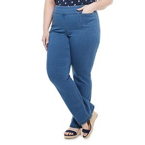 Plus Size Croft & Barrow® Pull-On Mid-Rise Bootcut Jeans