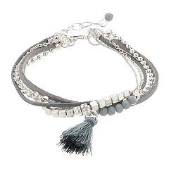 Silver Tone Bead & Tassel Charm Detail Multi Row Bracelet