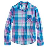 Girls 7-16 SO® Woven Popover Chambray Long Sleeve Top