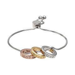 Brilliance Tri-Tone Mother Daughter Triple Ring Adjustable Bracelet with Swarovski Crystals
