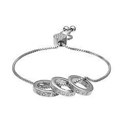 Brilliance Mother Daughter Triple Ring Adjustable Bracelet with Swarovski Crystals