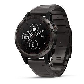 Garmin fenix 5 Smartwatch Plus Sapphire, Carbon Gray DLC Titanium with DLC Titanium Band