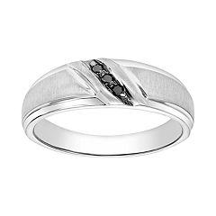 Lovemark Men's 10k White Gold 1/10 Carat T.W. Black Diamond Channel Ring