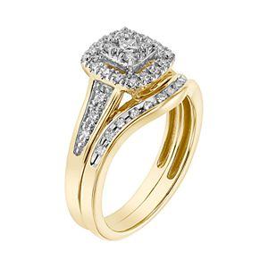 Lovemark 10k Gold 1/3 Carat T.W. Diamond Halo Engagement Ring Set