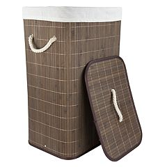 Home Basics Rectangular Bamboo Laundry Hamper