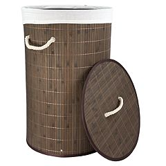Home Basics Round Foldable Bamboo Laundry Hamper