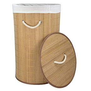 Home Basics Round Foldable Bamboo Laundry Hamper