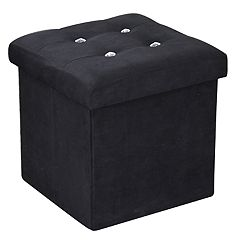 Home Basics Decorative Button Square Storage Ottoman