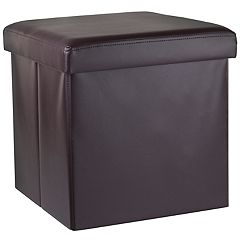 Home Basics Round Faux Leather Storage Ottoman
