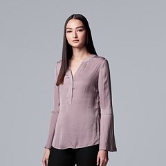 Women's Simply Vera Vera Wang Bell-Sleeve Satin Henley Top