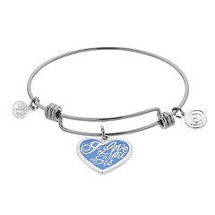 love this life 'I Love You Sis' Blue Enamel Heart Bangle Bracelet