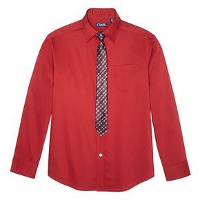 Boys 8-20 Chaps Plaid Button-Down Shirt & Tie Set