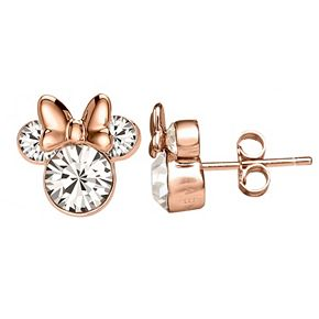 Disney's Minnie Mouse Rose Gold Tone Crystal Stud Earrings
