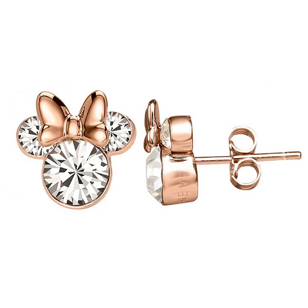Disney S Minnie Mouse Rose Gold Tone Sterling Silver Crystal Stud Earrings