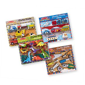 Melissa & Doug Chunky Wooden Puzzle 4-Pack  - Dinosaurs, Construction, Tools, Vehicles