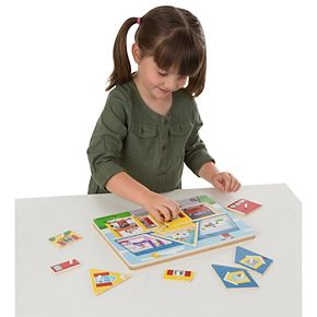 Melissa & Doug Sound Puzzle 2-Pack (8 pcs each) - Around the House and Around the Fire Station