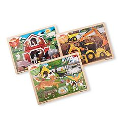 Melissa & Doug 24-Piece Wooden Jigsaw Puzzle 3-Pack - Farm, Construction, Pets