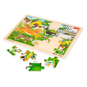 Melissa & Doug 24-Piece Wooden Jigsaw Puzzle 3-Pack - Farm, Construction, Pets