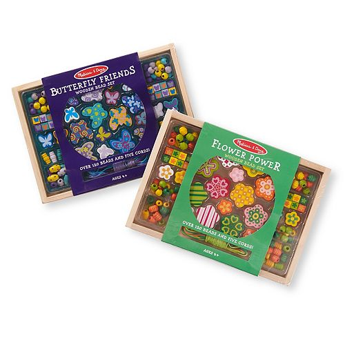 Melissa Doug Wooden Bead Kit 2 Pack Butterfly And Flowers
