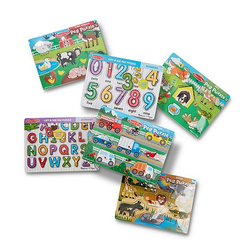 Melissa & Doug Wooden Peg Puzzle 6-Pack - Numbers, Letters, Animals,  Vehicles