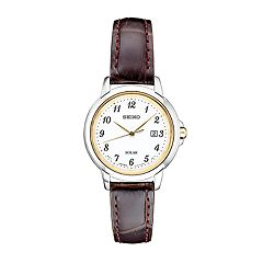 Seiko Women's Essentials Leather Solar Watch - SUT375
