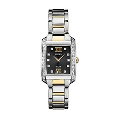 Seiko Women's Diamond Accent Two Tone Stainless Steel Solar Watch - SUP405