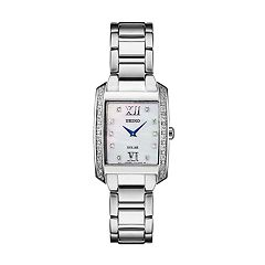 Seiko Women's Diamond Accent Stainless Steel Solar Watch - SUP399
