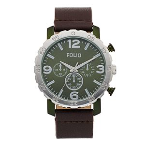 Folio Men's Faux Leather Band Watch