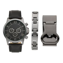 Folio Men's Watch, Bracelet & Money Clip Bottle Opener Set