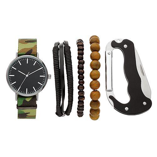 Folio Men's Camouflage Watch, Bracelet & Multi-Purpose Carabiner Set
