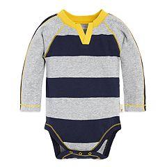 Baby Boy Burt's Bees Baby Organic Rugby Striped Raglan Bodysuit