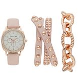 Women's Crystal Leather Watch & Bracelet Set