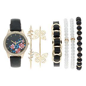 Women's Crystal Floral Leather Watch & Bracelet Set