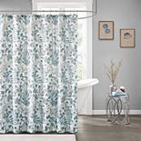 Madison Park Lyla Seersucker Botanical Print Shower Curtain