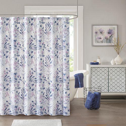 Madison Park Lyla Seersucker Botanical Print Shower Curtain