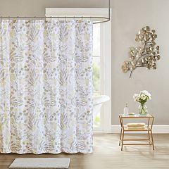 Madison Park Lyla Seersucker Botanical Print Shower Curtain Aqua Mauve Yellow